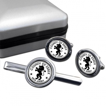 Essex County NJ  Round Cufflink and Tie Clip Set