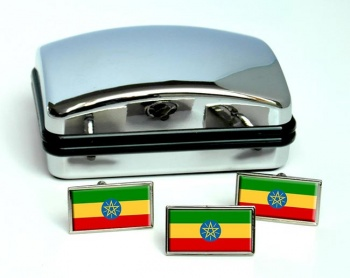 Ethiopia Flag Cufflink and Tie Pin Set