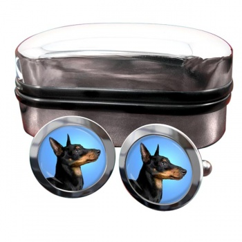 English Toy Terrier (Black & Tan)  Round Cufflinks