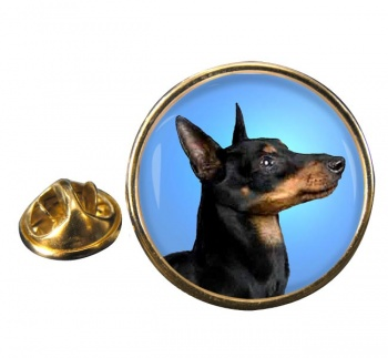 English Toy Terrier (Black & Tan) Round Pin Badge
