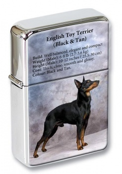 English Toy Terrier (Black & Tan) Flip Top Lighter