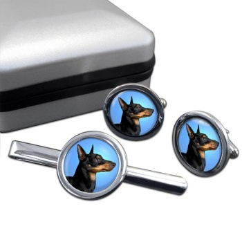 English Toy Terrier (Black & Tan)  Cufflink and Tie Clip Set