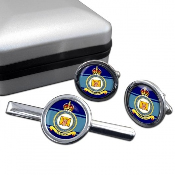 Electrical and Wireless School (Royal Air Force) Round Cufflink and Tie Clip Set