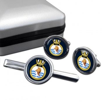 727 Naval Air Squadron (Royal Navy) Round Cufflink and Tie Clip Set