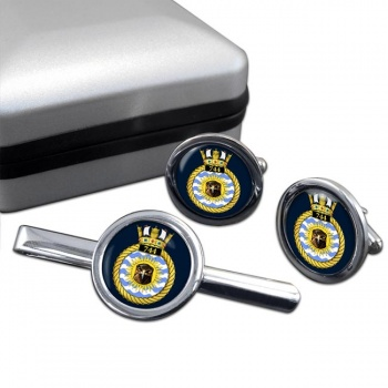 744 Naval Air Squadron (Royal Navy) Round Cufflink and Tie Clip Set