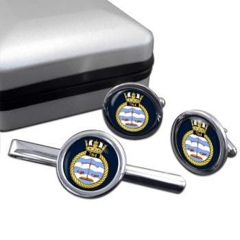 764 Naval Air Squadron (Royal Navy) Round Cufflink and Tie Clip Set