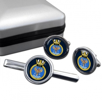 777 Naval Air Squadron (Royal Navy) Round Cufflink and Tie Clip Set
