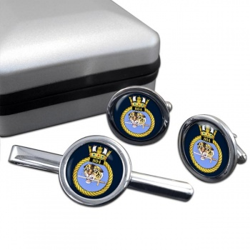 804 Naval Air Squadron (Royal Navy) Round Cufflink and Tie Clip Set