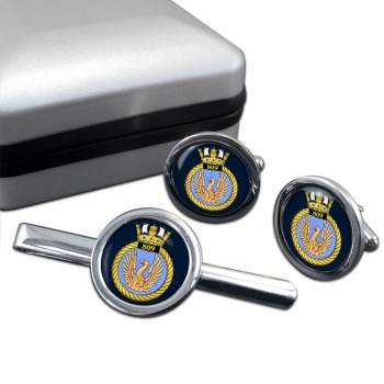 809 Naval Air Squadron (Royal Navy) Round Cufflink and Tie Clip Set