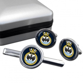 813 Naval Air Squadron (Royal Navy) Round Cufflink and Tie Clip Set
