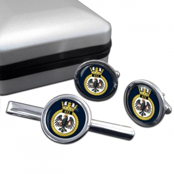 822 Naval Air Squadron (Royal Navy) Round Cufflink and Tie Clip Set