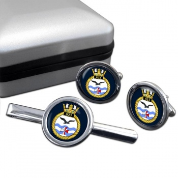 823 Naval Air Squadron (Royal Navy) Round Cufflink and Tie Clip Set