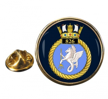 826 Naval Air Squadron Round Pin Badge