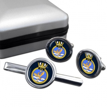 834 Naval Air Squadron (Royal Navy) Round Cufflink and Tie Clip Set