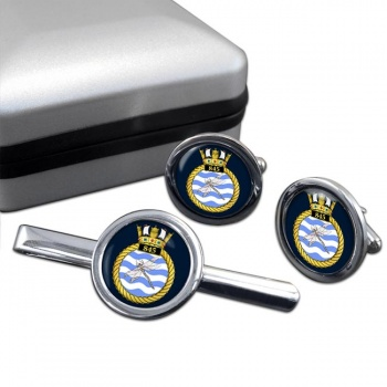 845 Naval Air Squadron Round Cufflink and Tie Clip Set