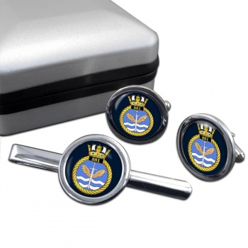 881 Naval Air Squadron (Royal Navy) Round Cufflink and Tie Clip Set