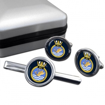 884 Naval Air Squadron Round Cufflink and Tie Clip Set