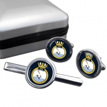 890 Naval Air Squadron (Royal Navy) Round Cufflink and Tie Clip Set