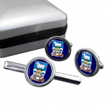 Falkland Islands Round Cufflink and Tie Clip Set