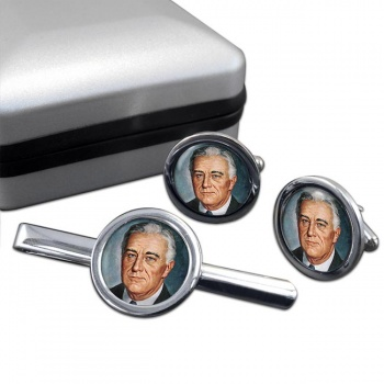 Franklin D Roosevelt Round Cufflink and Tie Clip Set