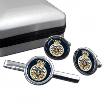 Fleet Diving Squadron RN Round Cufflink and Tie Clip Set