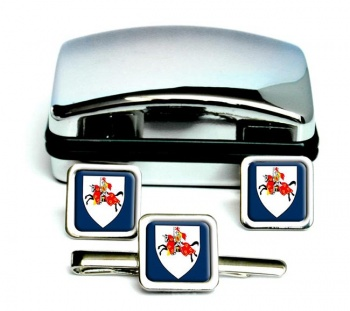 Fifeshire (Scotland) Square Cufflink and Tie Clip Set