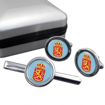Finnish Coats of Arms Round Cufflink and Tie Clip Set