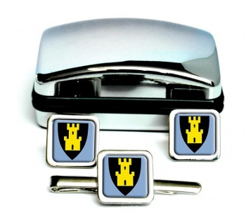 Finnmark (Norway) Square Cufflink and Tie Clip Set