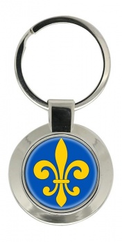 Fleur-de-lis Chrome Key Ring