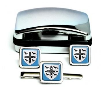 Flintshire-Square Cufflink and Tie Clip Set