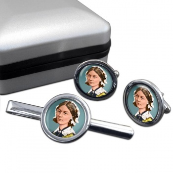 Florence Nightingale Round Cufflink and Tie Clip Set