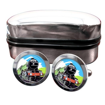 Flying Scotsman Vintage Poster Round Cufflinks