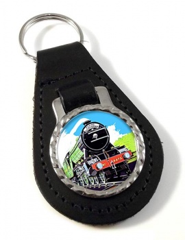 Flying Scotsman Vintage Poster Leather Keyfob