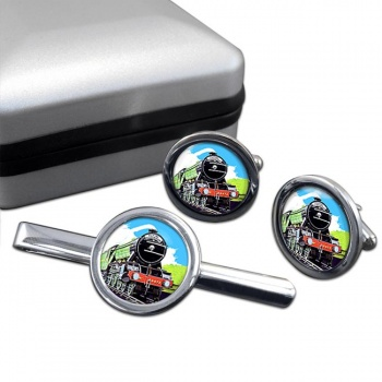 Flying Scotsman Vintage Poster Cufflink and Tie Clip Set