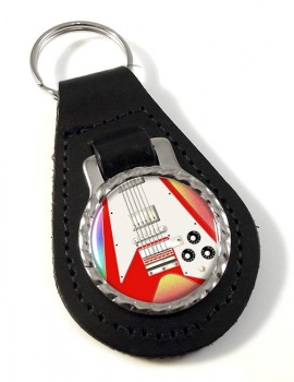 Flying V Guitar Leather Key Fob