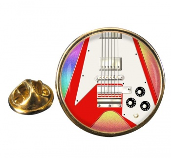 Flying V Guitar Round Pin Badge