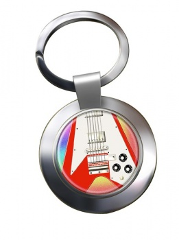 Flying V Guitar Chrome Key Ring