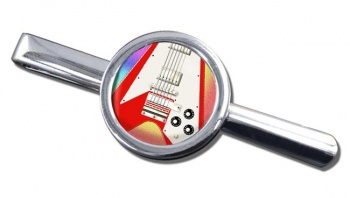 Flying V Guitar Round Tie Clip