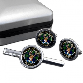 Forbes Scottish Clan Round Cufflink and Tie Clip Set