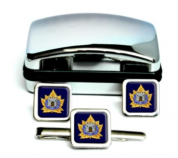 Fort Garry Horse (Canadian Army) Square Cufflink and Tie Clip Set