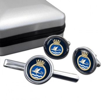 Faslane Patrol Boat Squadron (Royal Navy) Round Cufflink and Tie Clip Set