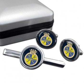 Fishery Protection Squadron (Royal Navy) Round Cufflink and Tie Clip Set
