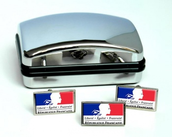 Republique francaise (France) Flag Cufflink and Tie Pin Set