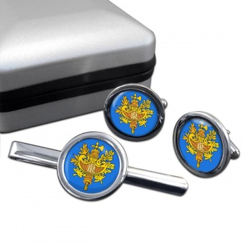 France (Crest) Round Cufflink and Tie Clip Set