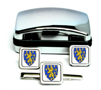 Franche-Comte (France) Square Cufflink and Tie Clip Set
