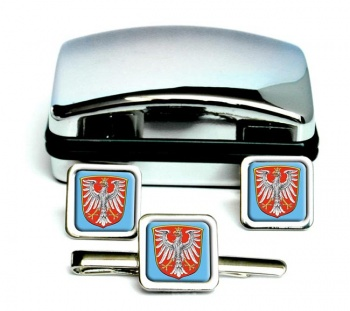 Frankfurt am Main (Germany) Square Cufflink and Tie Clip Set