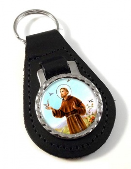 Francis of Assisi Leather Keyfob