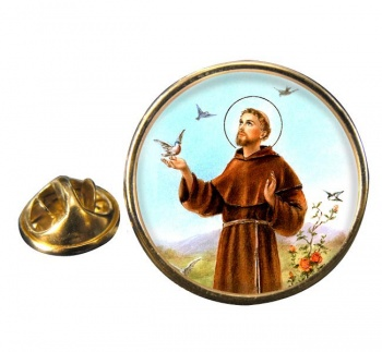 Francis of Assisi Round Pin Badge