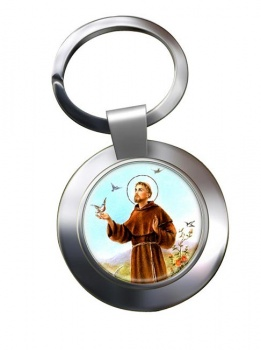 Francis of Assisi Leather Chrome Key Ring