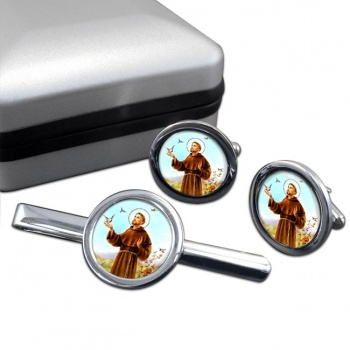 Francis of Assisi Round Cufflink and Tie Bar Set